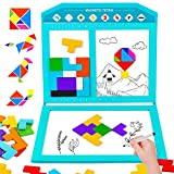 VATOS Puzzle Brain Teasers Magnetic Tangram Jigsaw Toys Magnet Drawing Board Intelligence Colorful 3D Russian Blocks Game STEM Educational Gift for Kids Boys Girl Age 3 4 5 6+ Year Old (47 Pcs)
