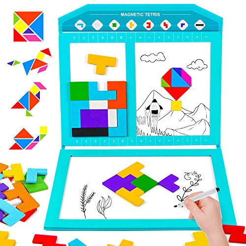 VATOS Wooden Magnetic Puzzle Brain Game for kids,Tetris-Trangram-Drawing Board 3 IN 1 Brain Teasers,Early Educational IQ Book,Best Travel Puzzle Gift for boys and girls ages 3-8 years old