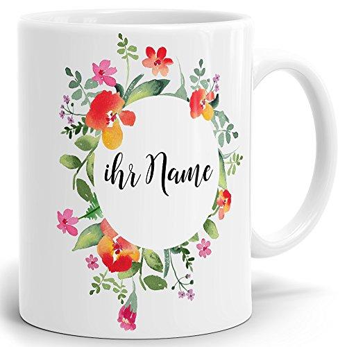 Drucksaal Namenstasse-Tasse-Becher-Kaffeetasse-mit Name-mit Namen individuell und persönlich Motiv Blumenkranz