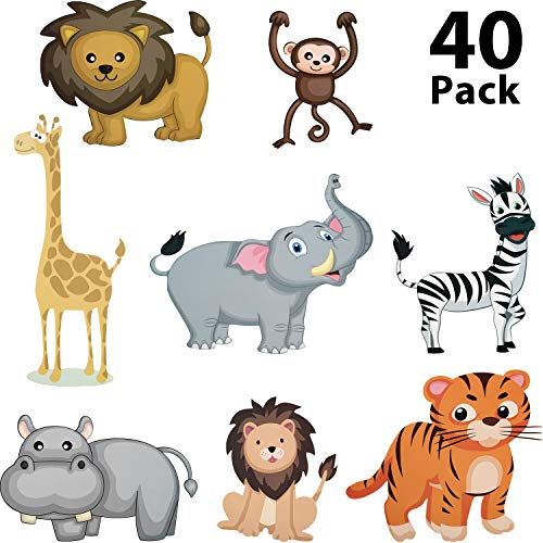 40 Pieces Zoo Animals Cutouts Jungle Cutouts Animal Cardboard Cutouts for Baby Shower, Photo Props, Birthday Party Decorations
