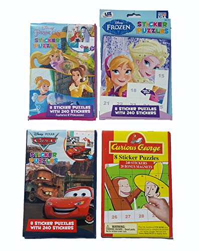Disney Ultimate Sticker Books with 960 Stickers: Princesses, Pixar Cars, Frozen and Curious George Set