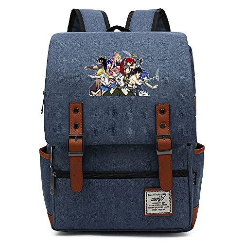 Hydxsjh Fairy Tail Mochila para Portátil De 16 Pulgadas Vintage para Portátil Anime Backpack Cartoon Animation,D
