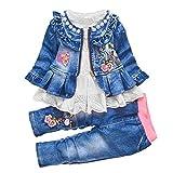 Primavera Otoño Bebé Niñas Ropa Set 3pcs Manga Larga Camiseta Denim Chaqueta y Jeans - Blanco - 3-4 años