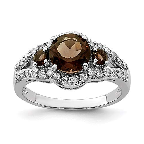 925 Sterling Silver Diamond Smoky Quartz Band Ring Size 7.00 Gemstone Fine Jewellery For Women Gifts For Her