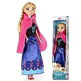 LSXX Frozen poupée Anna Elsa Princesse Barbie kit poupée Simulation Plastique Jouets Mobile Fille Anniversaire Joint Cadeau 31cm,Annaa