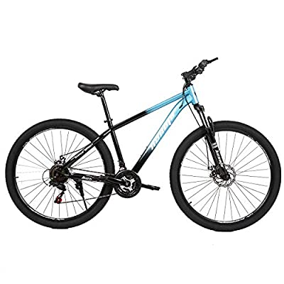 hosote 29 inch Mountain Bike, 21 Speed Suspension Fork Mountain Bicycle, Dual Disc Brake Carbon Steel Frame City Bikes for Men and Women [US in Stock]