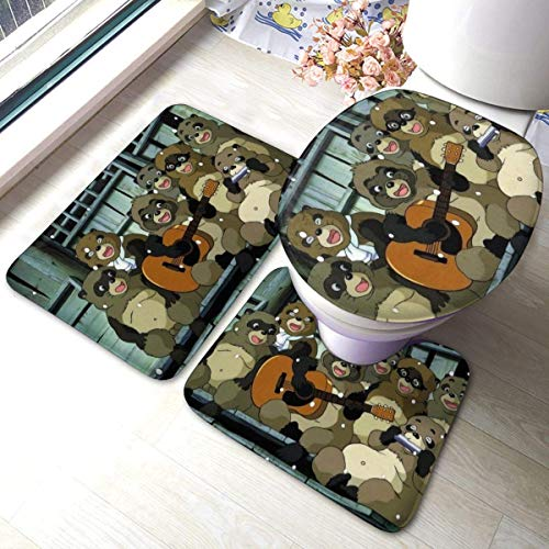 ingshihuainingxianruangangs Pom Poko Badematte 3-teiliges Set Anti-Rutsch-Badezimmerteppich Set Saugfähiger Teppich + Mattenpolster
