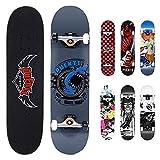 NACATIN Skateboard Completo para Adultos y Niños con Rotamiento 608 ABEC-9, 92A y 8 Capas de Madera de Arce Monopatin 80x20x11cm, Carga de 180 Kg para Principiantes y Profesionales Gris