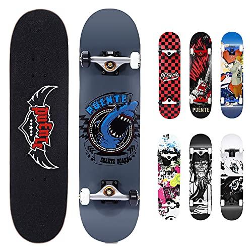 NACATIN Skateboard Komplettboard für Kinder Jungendliche und Erwachsene mit ABEC-9 Kugellager 92A Anti-Rutsch-Glatt und Mute Rad Funboard für Anfänger (Grau Blau)