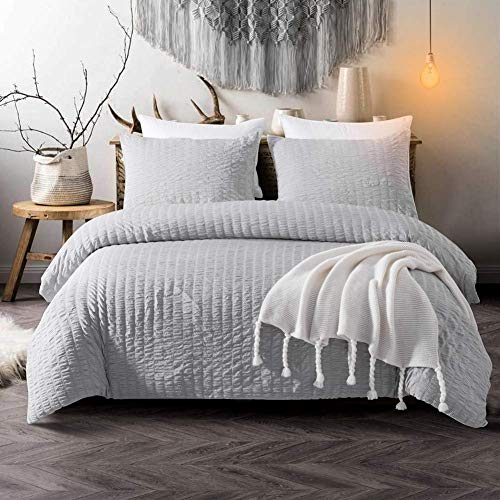 [hachette] SEERSUCKER DUVET COVER BEDDING BED SET WITH PILLOWCASES (Grey Silver, King)