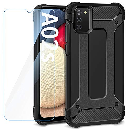 AROYI Funda Compatible con Samsung Galaxy A02S con Protectores Pantalla Cristal Templado, Robusta Carcasa Híbrida TPU y PC de Doble Capa Anti-arañazos Caso para Samsung Galaxy A02S, Negro