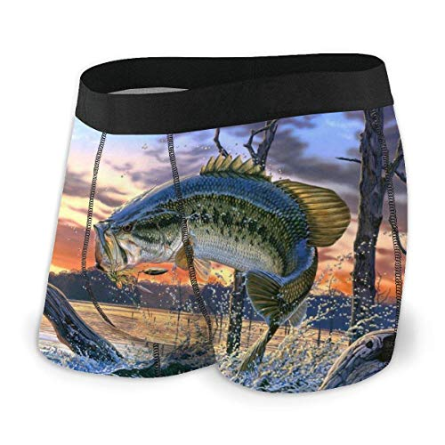 Drempad Calzoncillos Bóxers Slips, Men's Boxer Briefs Bass Jumping out of The Water Breathable Hip Ropa Interior with Comfort Waistband
