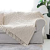 Solid Soft Cozy Cable Knitted Blanket Throw, Lightweight Decorative Textured Cream Throw Blanket with Fringes for Couch Chairs Bed Sofa,Beige, 50'x 60'