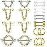 Ruifan Lot de 2 piercings pour téton en acier chirurgical 14 g 1,6 cm, RH00581