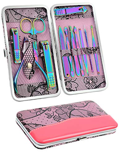 Rainbow Manicure Set Women -Nail Clipper Set of 12 Pcs - Professional Stainless Steel Nail Care kit for Girl by SFYDOM Travel & Nail Grooming Kit with Flower Shape Case