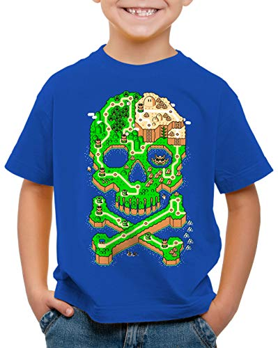 A.N.T. Mario Skull Camiseta para Niños T-Shirt cráneo Consola de Videojuegos Super...
