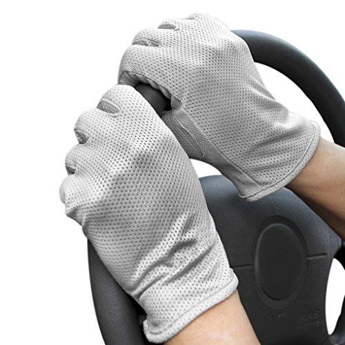 FakeFace Guanti da guida, unisex, estivi, leggeri, in cotone, per touchscreen, protezione dai raggi UV, antiscivolo, per ciclismo, equitazione, escursionismo Grey Taglia unica
