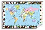 Postereck - Poster 0609 - Politische Weltkarte mit Flaggen
