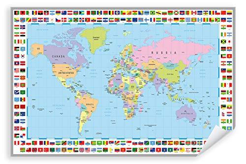 Postereck - Poster 0609 - Politische Weltkarte mit Flaggen Laender Kontinente Größe DIN - A4-21.0 cm x 29.7 cm
