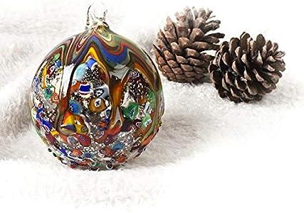 YourMurano, Juego de 3 bolas de cristal de Murano de Navidad creadas con decoraciones multicolores, 1er set de Navidad, marca de origen 100%