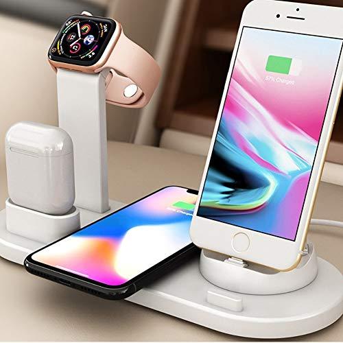 2 cargadores inalámbricos, estación de acoplamiento del cargador, compatible con iPhone 11 Pro XS XR X 8 y Samsung S10 S9 y Apple Watch y AirPod
