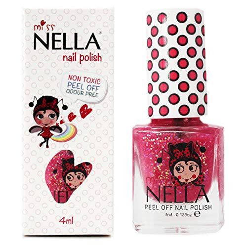 Miss Nella SUGAR HUGSS pezieller Nagellack mit Glitzer für Kinder, Peel-Off-Formel, wasserbasiert...