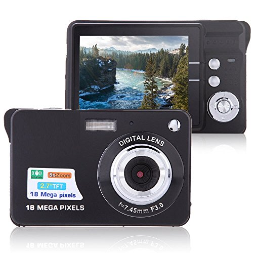 Digital Camera Lyyes 27quot Mini Camera HD 720P Digital Point Shoot Camera 8X Zoom Camera for Kids and Gifts Black
