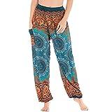Nuofengkudu Mujer Hippie Algodón Tailandeses Pantalon Harem Cintura Alta Boho Vintage Patrones Indio Baggy Fisherman Yoga Pants Pijama Verano Playa(Verde Brújula,Talla única)