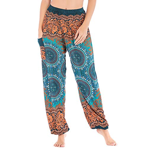 Mujer Hippie Algodón Tailandeses Pantalon Harem Cintura Alta Boho Vintage Patrones Indio Baggy Fisherman Yoga Pants Pijama Verano Playa