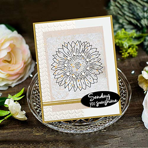 Sunflower Bees Clear Rubber Stamps and Metal Cutting Dies for Card Making Scrapbooking Birthday Dies Words Sending You Sunshine