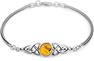925 Sterling Silver Genuine Gemstone Celtic Trinity Knot Triquetra Triskelion Trikele Bracelet 8