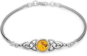Chuvora 925 Sterling Silver Genuine Gemstone Celtic Trinity Knot Triquetra Triskelion Trikele Bracelet 8