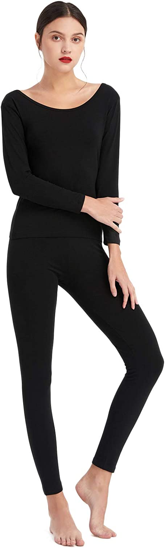 Mcilia Women's Cotton & Modal Thermal Baselayer Underwear Set Long Sleeve Top & Bottom