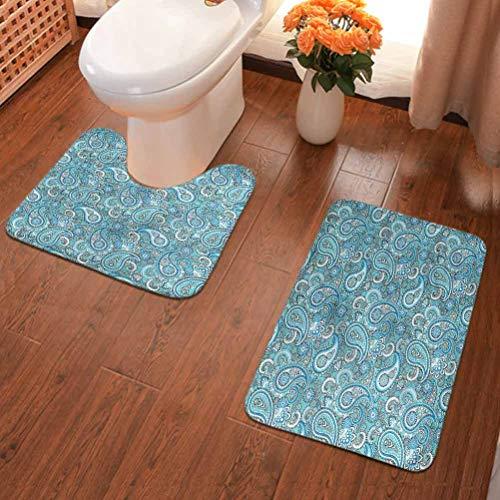 Ahuimin - Juego de 2 alfombrillas de baño, diseño de Paisley, color azul pálido
