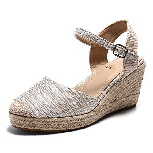 Alexis Leroy Women's Closed Toe Buckle Strap Slingback Espadrilles Wedge Sandals Grey 7-7.5 M US