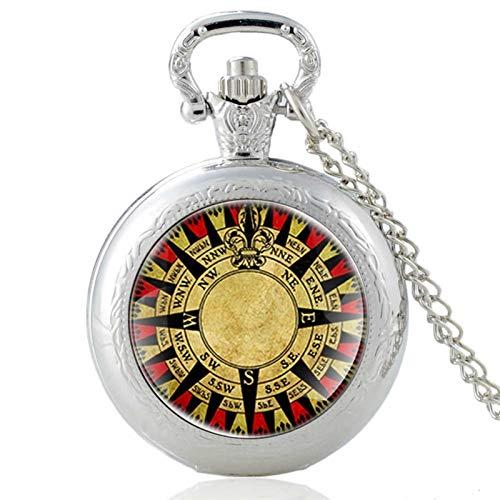 TUANZI Clásico Retro Antiguo diseño de brújula Cabochon Cuarzo Reloj de Bolsillo Vintage Hombres Mujeres Colgante Collar Cadena Reloj de Joyería Regalos Recuerdos Unisex (Color : PA118 Silver)