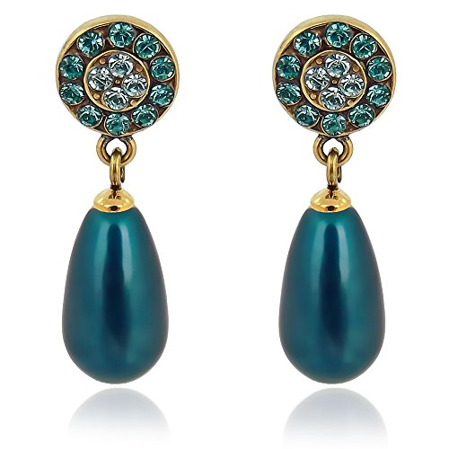 Perlenohrringe mit Kristallen von Swarovski® Gold Blau Grün Petrol NOBEL SCHMUCK