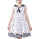 Sunny Fashion Chicas Vendimia Vestido Retro 1950 Rockabilly Marinero Collar Agua Onda...