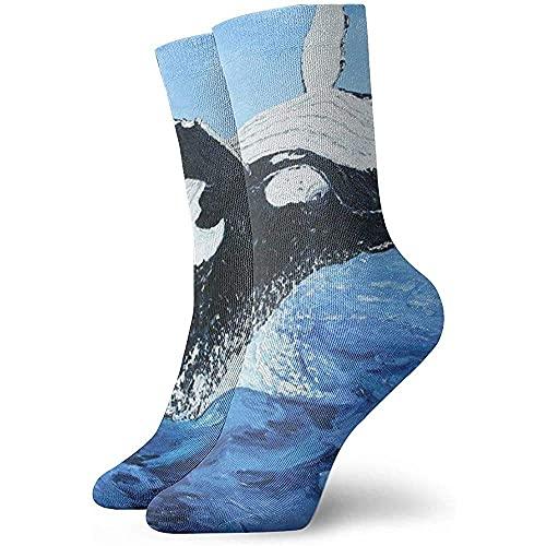 LAVYINGY Mens Dress Socks Pack Black Killer Whale Oil Painting Funny Polyester Crew Socks