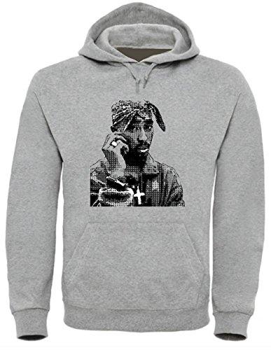Tupac Shakur Funny Pull à capuche unisexe pour homme et femme - Gris - Large