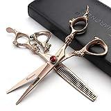 Coiffure Ciseaux professionnels Ciseaux de coiffeur Ciseaux de coupe Ciseaux à effiler Japon 440c Rasoir en acier inoxydable / Rose