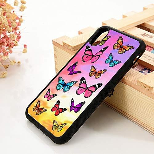 WGOUT para iPhone 5 5S 6 6S Funda Blanda de Gel de sílicepara iPhone 7 Plus XX 11 Pro MAX XR Patrón de Mariposa Colorida, para iPhone X