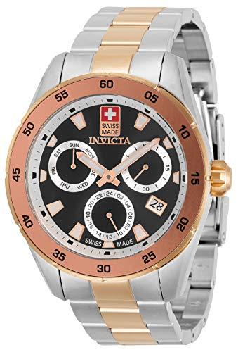 Invicta Pro Diver 33477 - Reloj de acero inoxidable para hombre, 45 mm, color oro rosa + acero negro, esfera de cuarzo, 33477