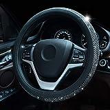 Bling Bling Rhinestones Steering Wheel Cover for Women Diamand Crystal Steering Wheel Cover with PU Leather Universal Fit 15 Inch Black