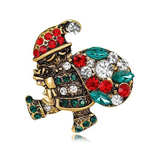ROTOOY Broches de Mujer Alfileres Moda Navidad Papá Noel Broches Figura de año Nuevo Hombre Viejo Diamante de imitación y Broche de Cristal Ancient_Gold