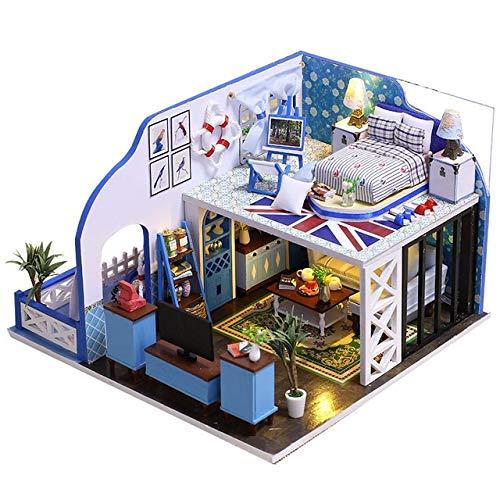 CHEJHUA -Construcción Modelo Kits de construcción de Casas de muñecas de Juguete 10 Tipos de Bricolaje muñeca casa con Muebles de Madera Dollhouse Hijos Adultos en Miniatura DIY (Color : Black)