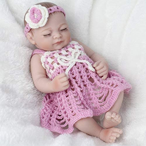 HSDDA Puppenkissen Babypuppen Vinyl Silikon Emulation Wiedergeburt Babypuppe Stricken Outfit Volle Weiße Silikon Puppe Kinder Spielzeug mädchen Geschenke Cartoon-Plüschkissen