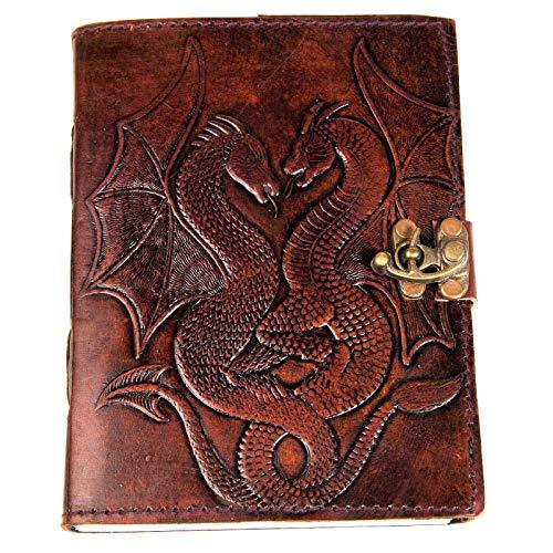 Tagebuch mit doppeltem Drachen-Prägung, urbanes Leder, für Damen und Herren, Skizzenbuch, Skizzenbuch, Zeichnen, Schreiben, Notizbuch mit Schatten und magischen Zaubersprüchen, unliniertes Papier