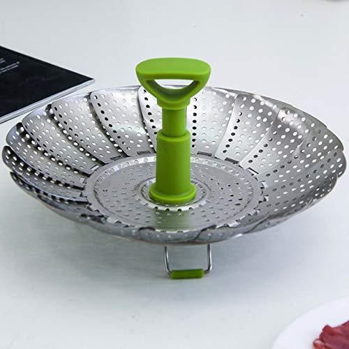 YILIAN Vegetales de acero inoxidable plato de vapor vapor plegable Cesta for el alimento vegetal de cocina que cocina la herramienta vapor (Size : Small)