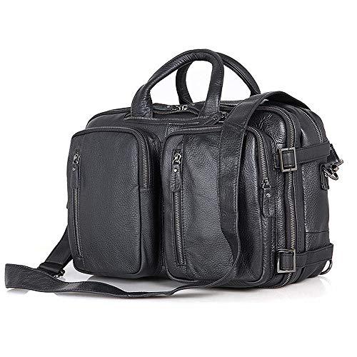 ChengBeautiful Laptop-Umhängetasche Herren Lederaktentasche mit Mehreren Taschen Business-Taschen-Rucksack Vintage Leder Tote Für Das Geschäft (Color : Black, Size : 38x15x27cm)